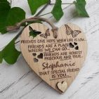 Personalised Special Friend Love Heart, Best Friend Hanging Heart Gift
